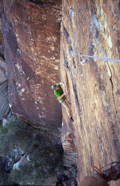 Rock Climbing Photo: Ixtlan. Pitch 1. Crux.
