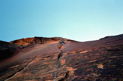 Rock Climbing Photo: Ixtlan. Pitch 2. The pitch is run-out without big ...