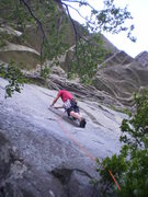 Rock Climbing Photo: P1 5.9 bolted variation.  This is the two-bolt sla...