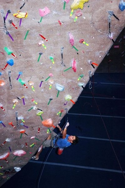Rock Climbing Photo: BRC route setter Jonathan Siegrist clipping the ar...