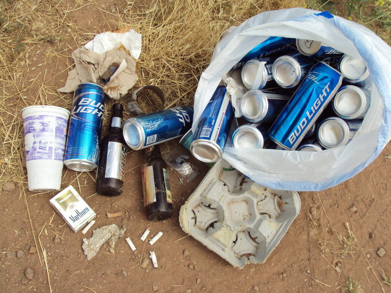 Not Again! Trash collected (& recycled) from the approach to Texas Canyon.