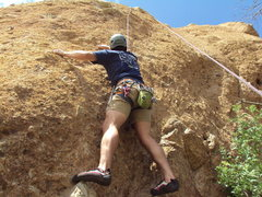 """Rock Climbing Photo: Cory working the initial moves of """"Pretty Goo..."""