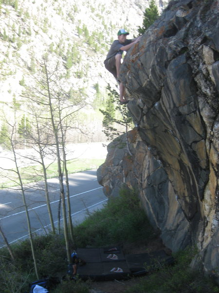 Alex Herbert sending at the Frisco Boulders.