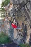 Rock Climbing Photo: Working up the arete.   Photo by Alex Herbert.