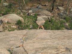 Rock Climbing Photo: Susie cruising up P1.