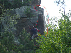 Rock Climbing Photo: Project Arete circled in red, right of Mike.