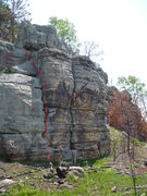 "Rock Climbing Photo: Red Line is ""Slab Crack"" 5.5"