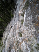 Rock Climbing Photo: Coming up the steep bolted pitch 3 5.8 bolted sect...