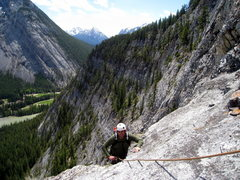 Rock Climbing Photo: Just topping out the bolted 5th pitch steep sectio...