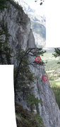 Rock Climbing Photo: Climber belaying second up pitch 5 (bolted pitch) ...