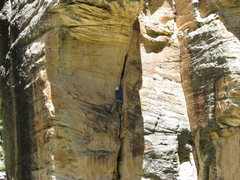 Rock Climbing Photo: MK getting close to the Crux. A offwidth crack tha...
