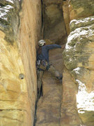 Rock Climbing Photo: Just below the top of the pitch on Superbody-Yo.
