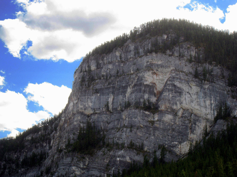 Tunnel Mountain, East Face (where the climbing routes are located.