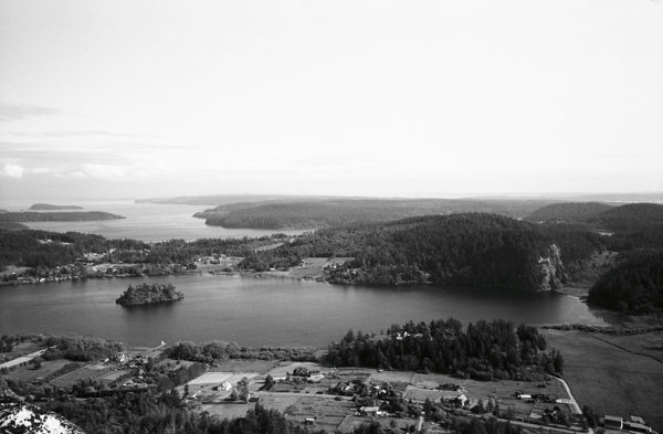 Looking south over Lake Campbell into Skagit Bay from the 3rd belay on Zig Zag.