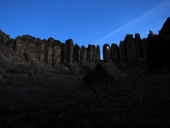 Climbing by headlamp on The Uprising under moonlight.