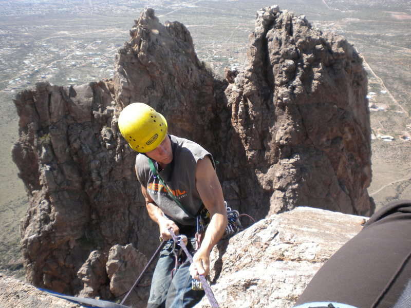 Rapping of the top of Grandfather Hobgoblin.  We did some off shoots to climbers right of the regular route.  Also fun, but quite dirty and loose!  Ah the Superstitions!!!