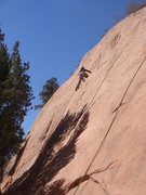 Rock Climbing Photo: Celena leading Helios.