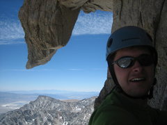 Fun shot of Peewee on the East Buttress.