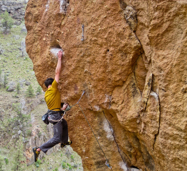 Rock Climbing Photo: Nailing the bucket after the successful dyno