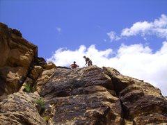 Rock Climbing Photo: Me (in orange shirt) anchoring Damned if you don't...