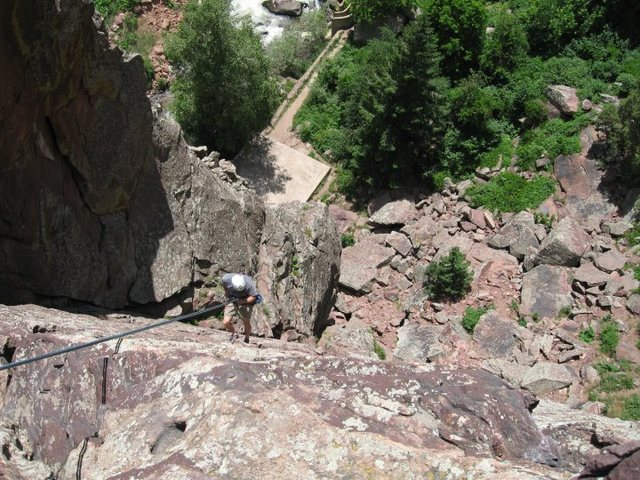 Belaying from the top of West Crack.