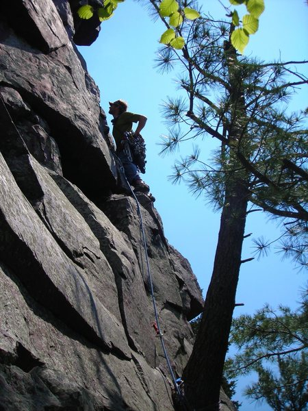 "Mike Sohasky leading the second pitch of adventure climb ""Jungle Gym"".  Major Mass, Devils's Lake."