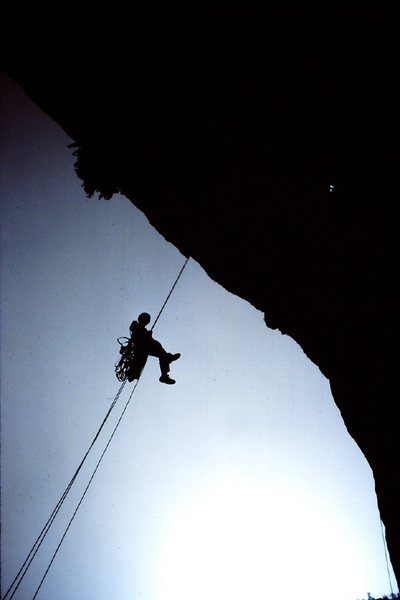 Rodman raps back to the portaledge after a day's work on the Outrage Wall.