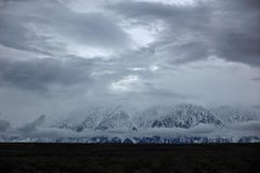 Rock Climbing Photo: Cloud belt and storm on the Wheeler Crest from the...