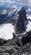 Rock Climbing Photo: From summit of Bugaboo Spire, 7/22/13. Kain Route ...