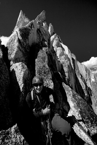 At the gendarme, Kain Route - Bugaboo Spire - August 2009