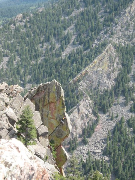 Rock Climbing Photo: An unknown climber battles the crux on the Potato ...