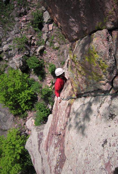 Rock Climbing Photo: Joseffa Meir emerges from under the final, left mo...