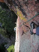 Rock Climbing Photo: Joseffa above the crux roof of the Peters Out roof...