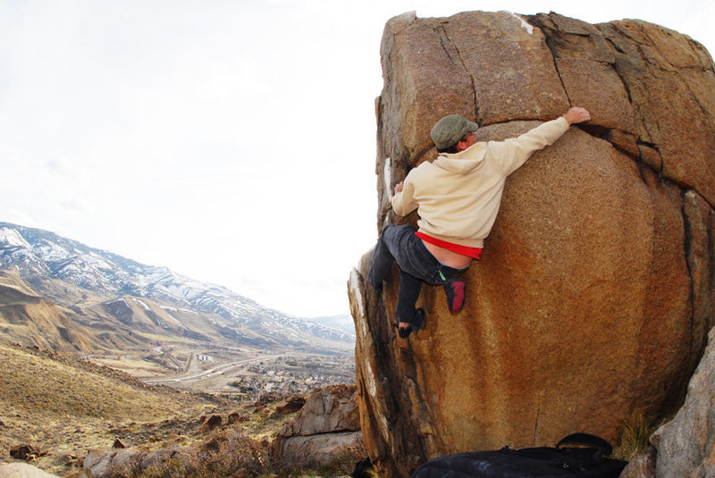 Rock Climbing Photo: Sean S attempting the bee boulder dyno.