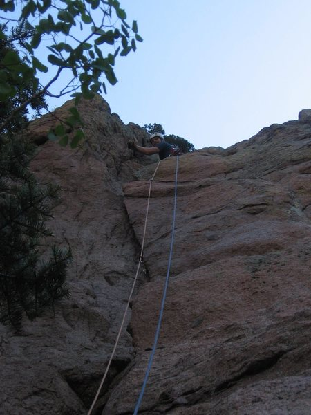 Climbing the first pitch of Miss Piggy... awesome start