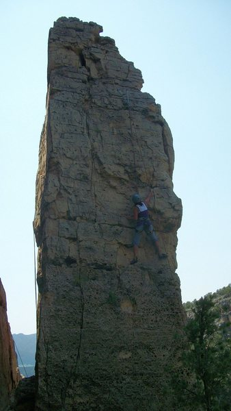 Julie Logan on the 5.9 Red Dog on the California Pinnacle, Mensus Area, Shelf Road.