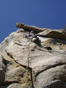 Rock Climbing Photo: Installing the protection bolt on the first ascent...