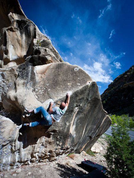 Rock Climbing Photo: Front Range climber giving it a go.  If you know t...