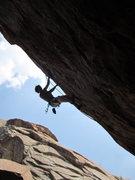 Rock Climbing Photo: It's a little steep. Kurt Ross working the moves f...
