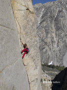 Melissa Buehler on the crux 4th pitch.  Andy Selters Photo.