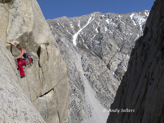 Melissa Buehler on the crux 4th pitch of Blindspot.  Andy Selters Photo.