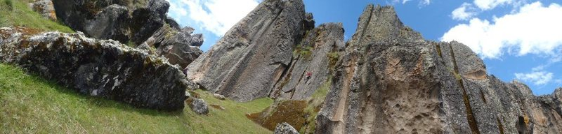 Rock Climbing Photo: Fett is on a route one left of Alimbar Peash. The ...