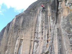 Rock Climbing Photo: Fett at crux, Oh $#!7!