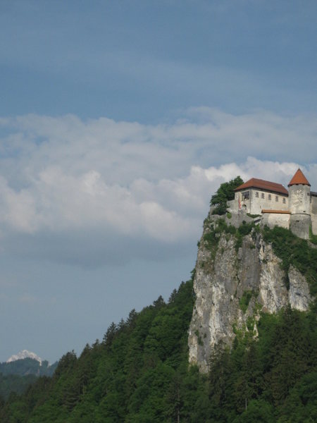 Castle in Bled, with Mount Trigalov in the distance.