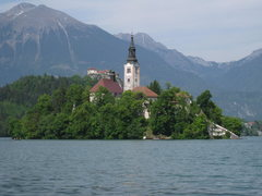 Rock Climbing Photo: Church and castle in Bled.  Running around the lak...
