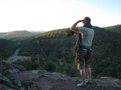 Rock Climbing Photo: Aaron surveys the libaray area from on top.