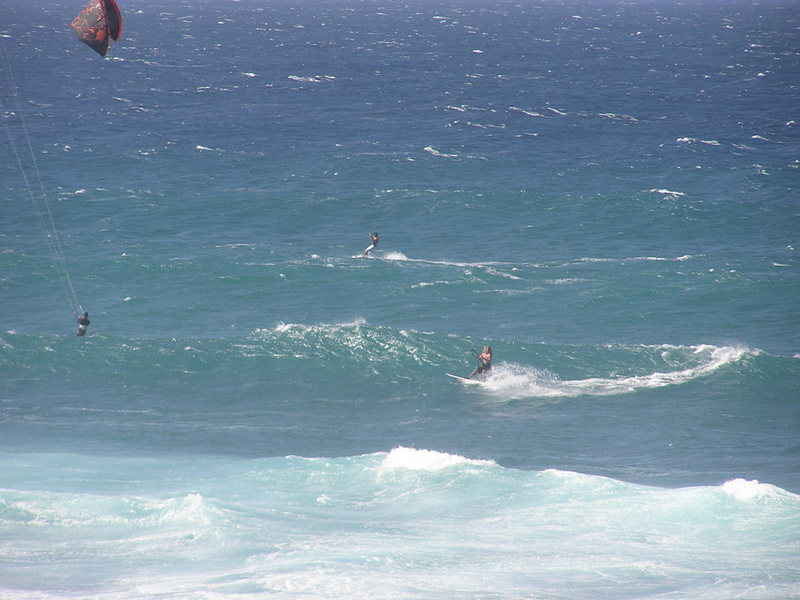Leaim kite boarding at Lanes here on Maui<br> Photo: Olaf Mitchell