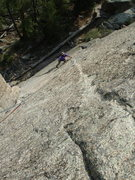 Rock Climbing Photo: Tom on the traverse after the crack peters out.  (...