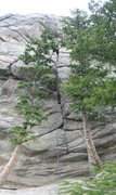 Rock Climbing Photo: Stitched photo of Infa-Red Riding Hood, highlighti...