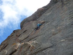 "Rock Climbing Photo: Just after reaching the big sideways ""V""..."